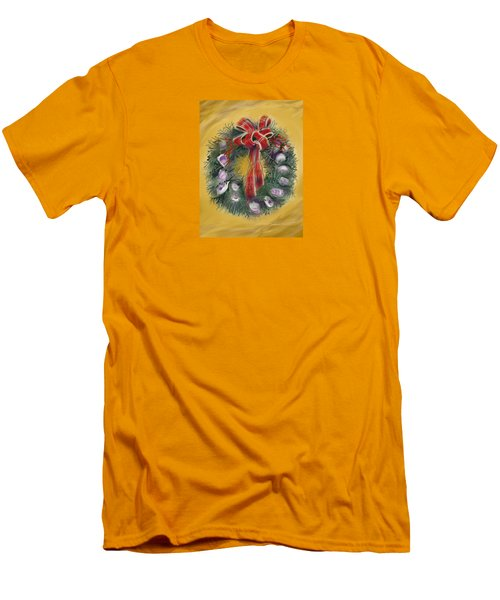Men's T-Shirt (Slim Fit) featuring the painting Duxbury Oyster Wreath by Jean Pacheco Ravinski