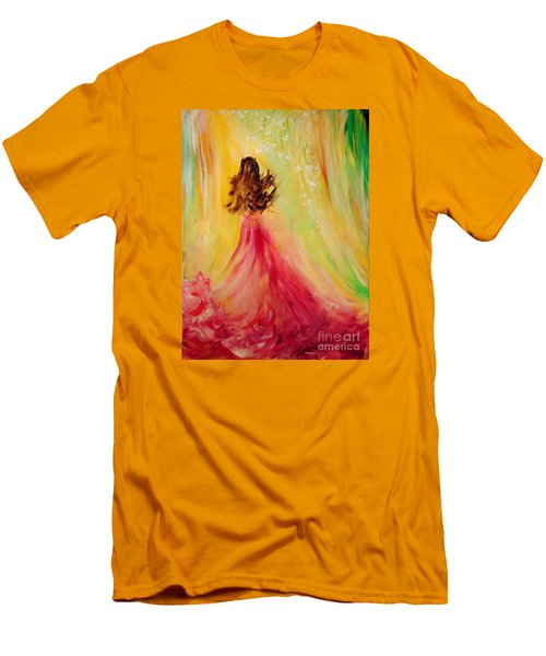 Men's T-Shirt (Slim Fit) featuring the painting Expecting by Teresa Wegrzyn