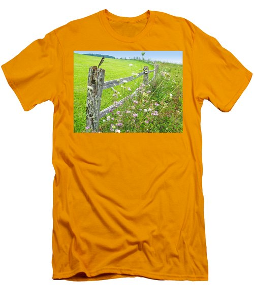 Fence Post Men's T-Shirt (Slim Fit) by Melinda Fawver