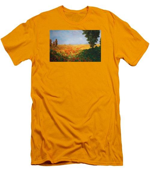 Field Of Poppies Men's T-Shirt (Slim Fit) by Jean Walker