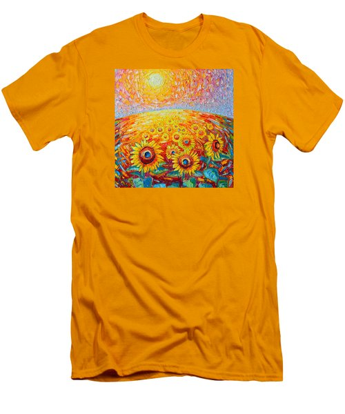 Fields Of Gold - Abstract Landscape With Sunflowers In Sunrise Men's T-Shirt (Slim Fit) by Ana Maria Edulescu