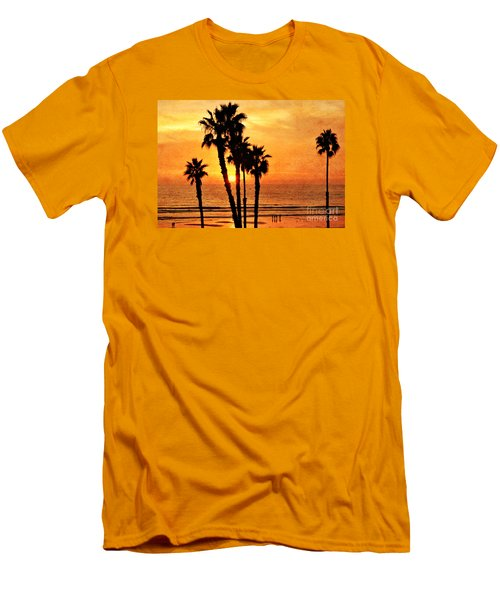 Fiery California Sunset Oceanside Beach Men's T-Shirt (Athletic Fit)
