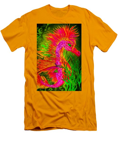 Men's T-Shirt (Slim Fit) featuring the painting Fiery Sea Horse by Adria Trail