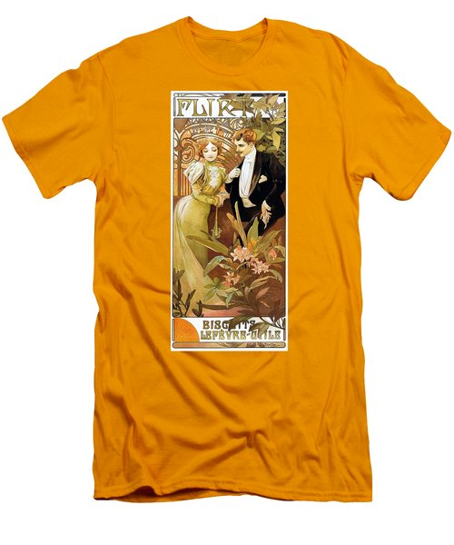 Flirt Men's T-Shirt (Slim Fit) by Alphonse Mucha