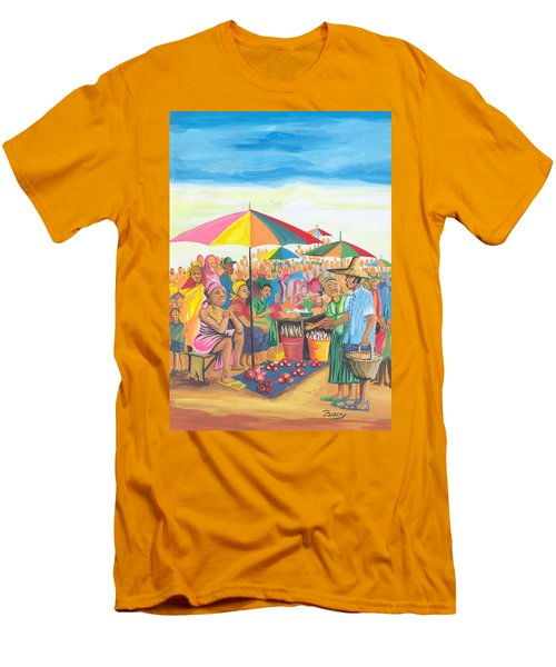 Men's T-Shirt (Slim Fit) featuring the painting Food Market In Cameroon by Emmanuel Baliyanga