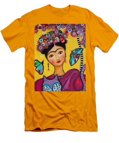 Frida Kahlo And Her Cat Men's T-Shirt (Slim Fit) by Pristine Cartera Turkus