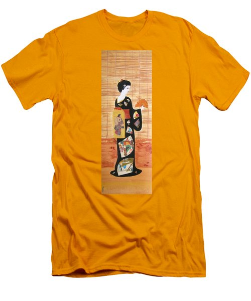 Men's T-Shirt (Slim Fit) featuring the painting Geisha by Mini Arora