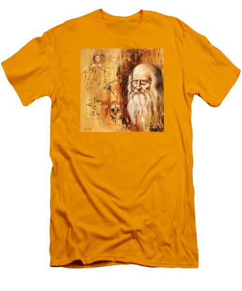 Men's T-Shirt (Slim Fit) featuring the painting Genius   Leonardo Da Vinci by Arturas Slapsys