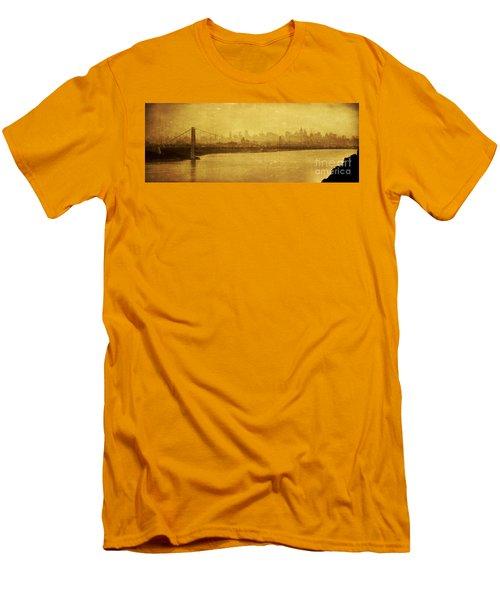 Men's T-Shirt (Slim Fit) featuring the photograph George Washington Bridge by Debra Fedchin