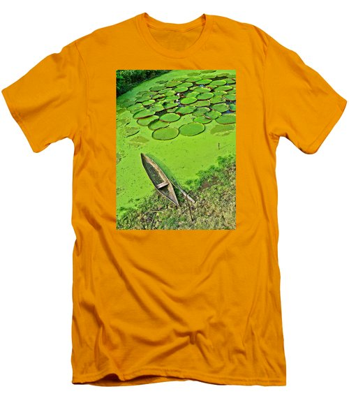 Giant Water Lilies And A Dugout Canoe In Amazon Jungle-peru Men's T-Shirt (Slim Fit) by Ruth Hager