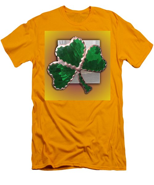 Men's T-Shirt (Slim Fit) featuring the photograph Glass Shamrock by Barbara McDevitt