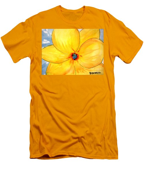 Men's T-Shirt (Athletic Fit) featuring the painting Glicee Cyan-a-floral by Clayton Bruster