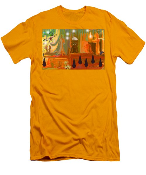 Men's T-Shirt (Slim Fit) featuring the painting Grandpas House For His Little Peeps by Sherri  Of Palm Springs