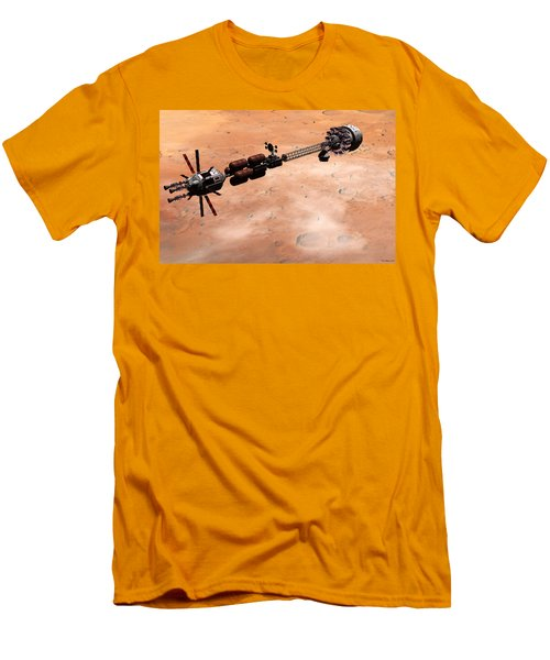 Men's T-Shirt (Slim Fit) featuring the digital art Hermes1 Over Mars by David Robinson