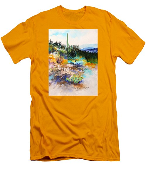 Men's T-Shirt (Slim Fit) featuring the painting High Desert Scene 2 by M Diane Bonaparte