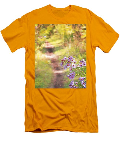 Men's T-Shirt (Slim Fit) featuring the photograph Honey Bee On Purple Aster by Brooke T Ryan
