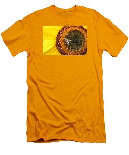 Honeybee On Sunflower Men's T-Shirt (Slim Fit) by Lucinda VanVleck