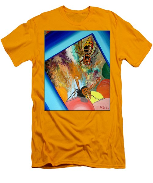 Men's T-Shirt (Slim Fit) featuring the painting Hornets by Daniel Janda