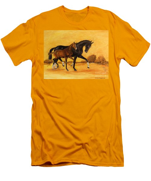 Men's T-Shirt (Slim Fit) featuring the painting Horse - Together 2 by Go Van Kampen