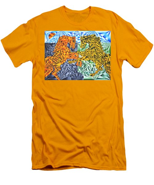 Men's T-Shirt (Slim Fit) featuring the painting Horses Of A Different Color by Joseph J Stevens