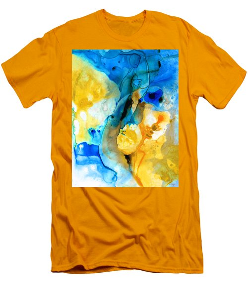 Men's T-Shirt (Athletic Fit) featuring the painting Iced Lemon Drop - Abstract Art By Sharon Cummings by Sharon Cummings