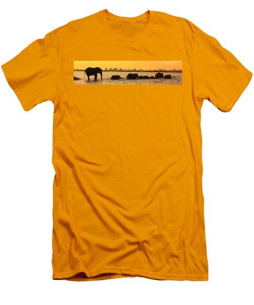 Men's T-Shirt (Slim Fit) featuring the photograph Kalahari Elephants Crossing Chobe River by Amanda Stadther