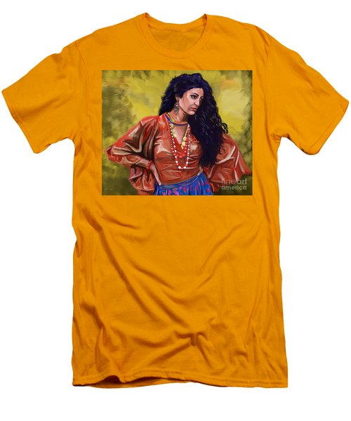 Men's T-Shirt (Slim Fit) featuring the painting Lala Gypsy Girl by Tim Gilliland