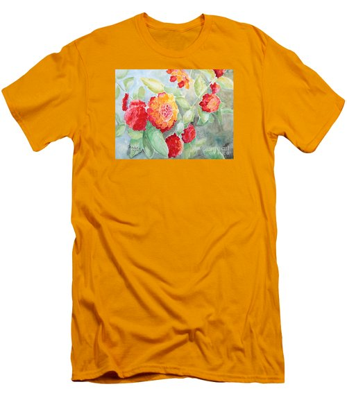 Men's T-Shirt (Slim Fit) featuring the painting Lantana II by Marilyn Zalatan