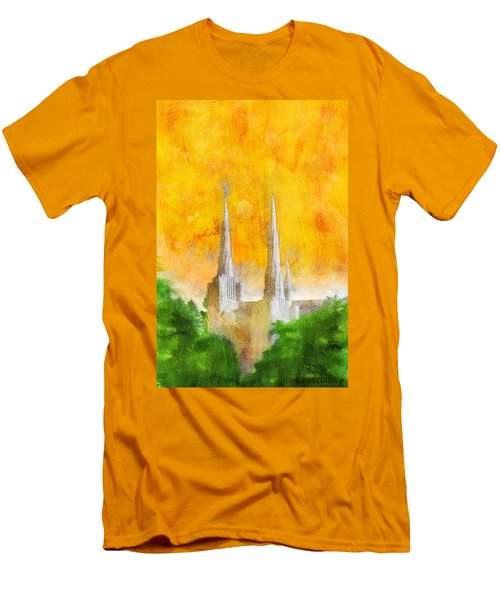 Men's T-Shirt (Slim Fit) featuring the painting Like A Fire Is Burning by Greg Collins