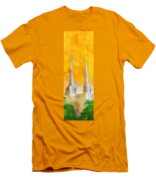 Men's T-Shirt (Slim Fit) featuring the painting Like A Fire Is Burning - Panoramic by Greg Collins