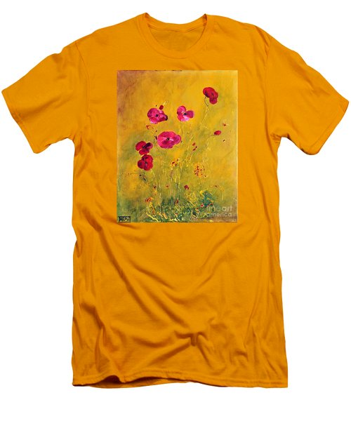 Men's T-Shirt (Slim Fit) featuring the painting Lonely Poppies by Teresa Wegrzyn