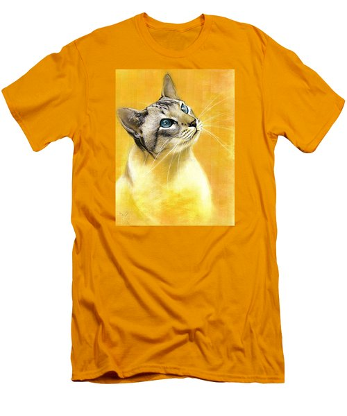 Men's T-Shirt (Slim Fit) featuring the drawing Lynx Point Siamese by VLee Watson