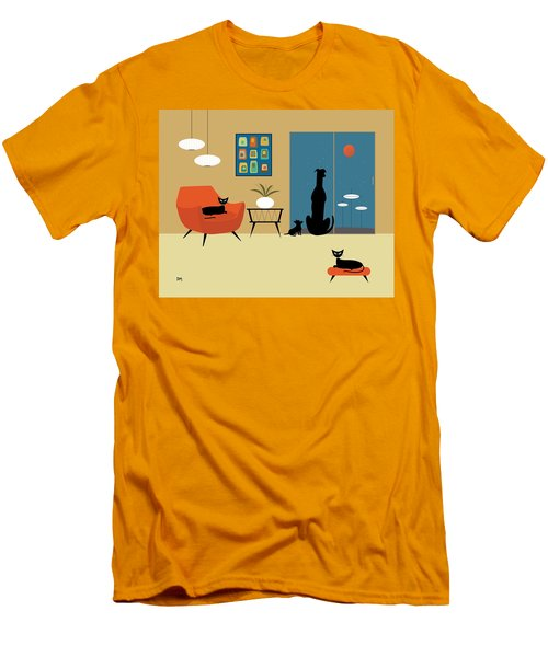Mid Century Dogs And Cats Men's T-Shirt (Athletic Fit)