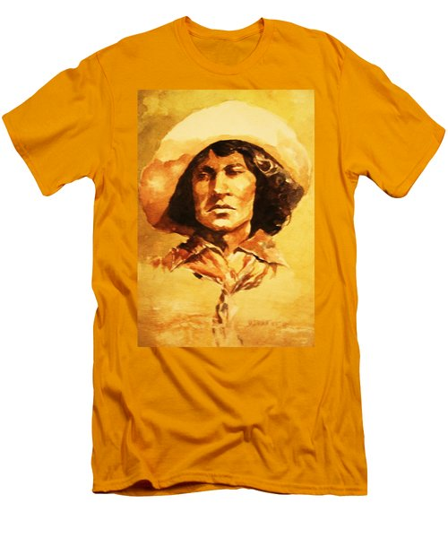 Nat Love Bronc Buster Men's T-Shirt (Slim Fit) by Al Brown