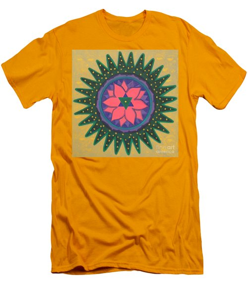Men's T-Shirt (Slim Fit) featuring the painting One Gold Bindu by Mini Arora