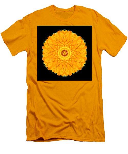 Men's T-Shirt (Slim Fit) featuring the photograph Orange Nasturtium Flower Mandala by David J Bookbinder
