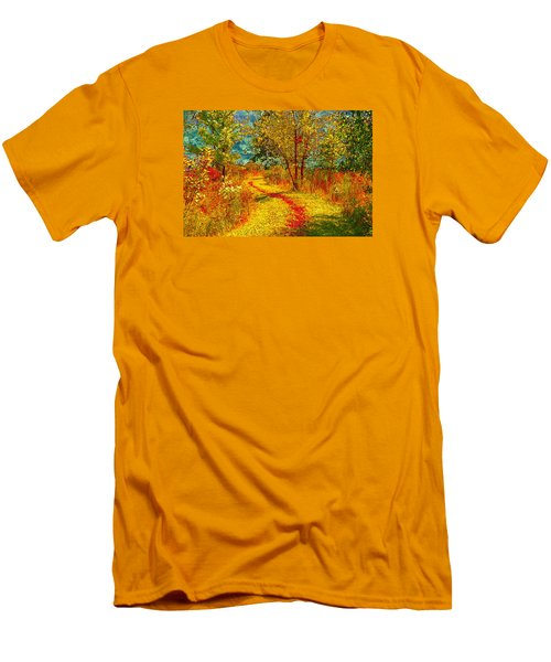 Path Through The Woods Men's T-Shirt (Slim Fit) by William Beuther