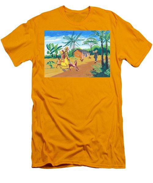 Men's T-Shirt (Slim Fit) featuring the painting Paysage Du Sud Du Cameroon by Emmanuel Baliyanga