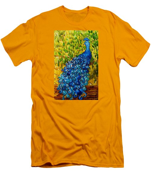 Men's T-Shirt (Slim Fit) featuring the painting Peacock by Katherine Young-Beck