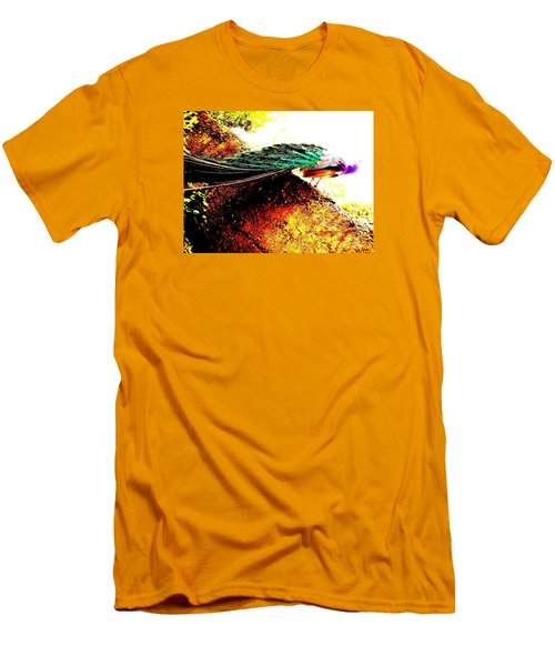 Men's T-Shirt (Slim Fit) featuring the photograph Peacock Tail by Vanessa Palomino