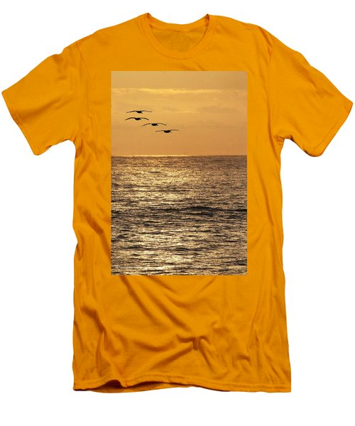 Men's T-Shirt (Slim Fit) featuring the photograph Pelicans Ocean And Sunsetting by Tom Janca