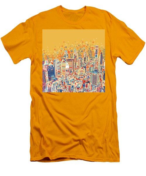 Philadelphia Panorama Pop Art Men's T-Shirt (Athletic Fit)