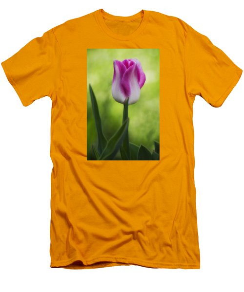 Pink And White Tulip Men's T-Shirt (Slim Fit) by Shelly Gunderson