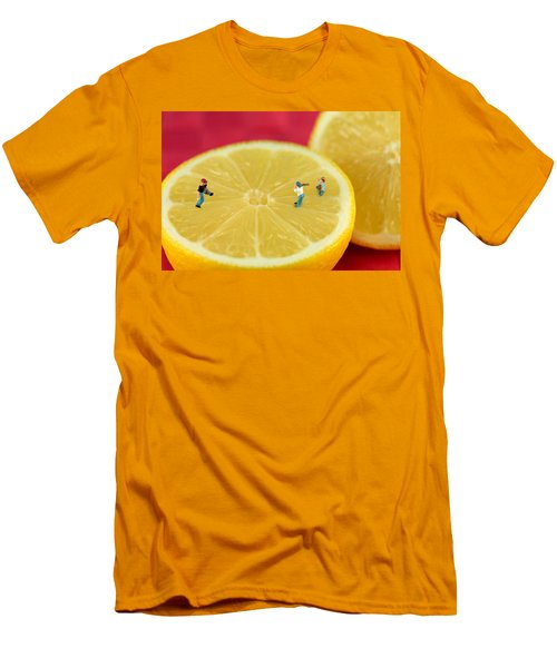 Playing Baseball On Lemon Men's T-Shirt (Athletic Fit)