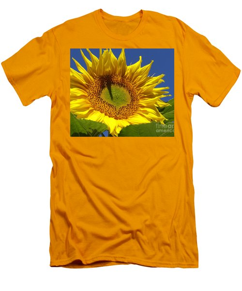 Men's T-Shirt (Slim Fit) featuring the photograph Portrait Of A Sunflower by Diane Miller