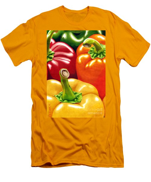 Rainbow Of Peppers Men's T-Shirt (Athletic Fit)