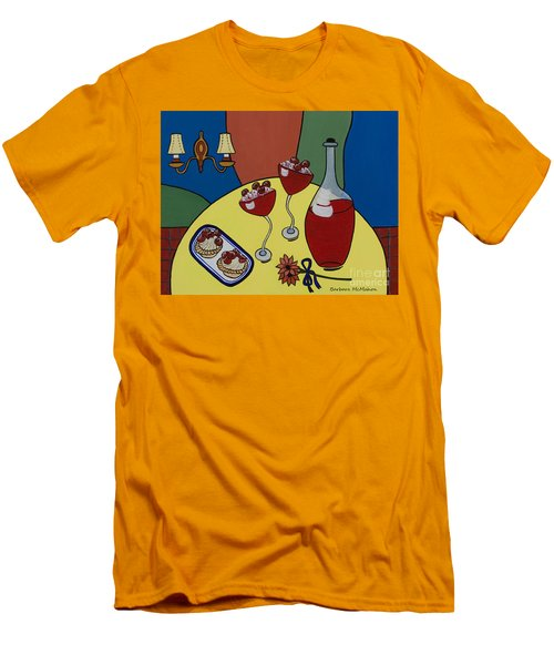 Men's T-Shirt (Slim Fit) featuring the painting Raspberry Wine by Barbara McMahon