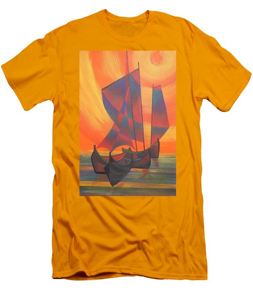 Men's T-Shirt (Slim Fit) featuring the painting Red Sails In The Sunset by Tracey Harrington-Simpson