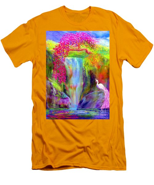 Waterfall And White Peacock, Redbud Falls Men's T-Shirt (Athletic Fit)