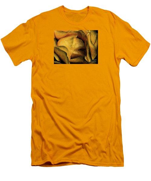 Men's T-Shirt (Slim Fit) featuring the photograph Rose Yellow Fresco by Jean OKeeffe Macro Abundance Art